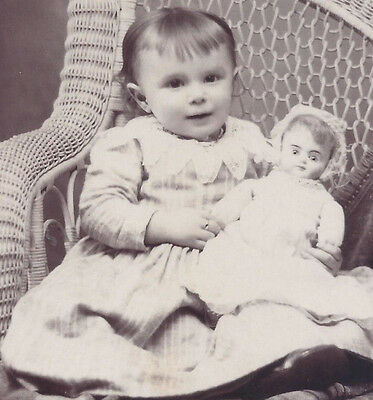 1890s CABINET CARD PHOTO ALTOONA PA YOUNG GIRL HOLDING HER DOLL