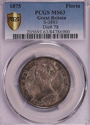 Pcgs-Ms63 1875 Great Britain Florin