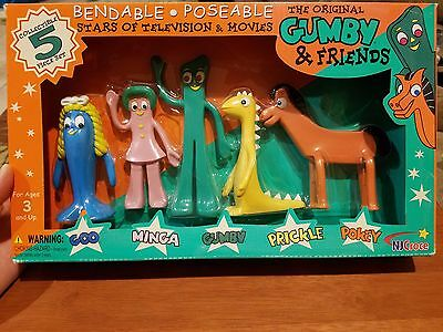 Gumby and Friends Collectible 5 piece set Bendable Posable NJ Croce - NEW!!