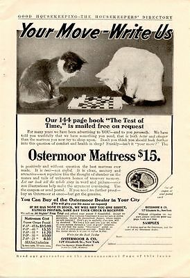 1908 Ostermoor Mattress Ad-Cats Play Checkers