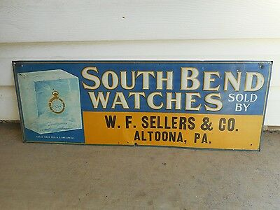 Vintage South Bend Watch/pocket Watches Embossed Tin Sign
