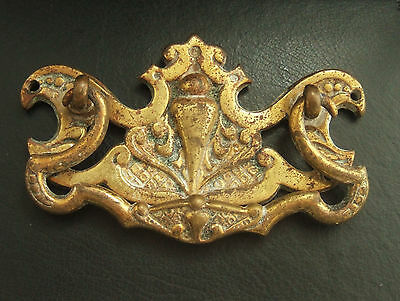 Antique Ornate Brass Drawer Pull Handle and Plate : Multi-Quantity Listing