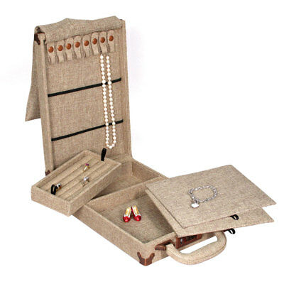 Modern Burlap Travelling Case  Storage Box Travel Case Trade Show Jewelry Case