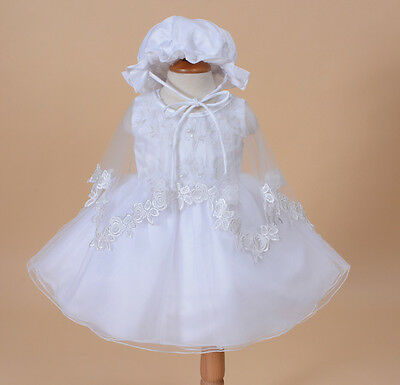 New Girls White Christening Gown with Bonnet and Cape 3-6 Months