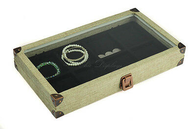 BURLAP GLASS TOP WOODEN CASE JEWELRY BOX DISPLAY CASE w/ 08 COMP LINER SHOWCASE