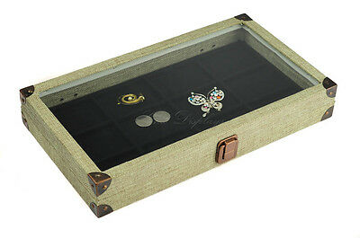 BURLAP GLASS TOP WOODEN CASE JEWELRY BOX DISPLAY CASE w/ 12 COMP LINER TRAY