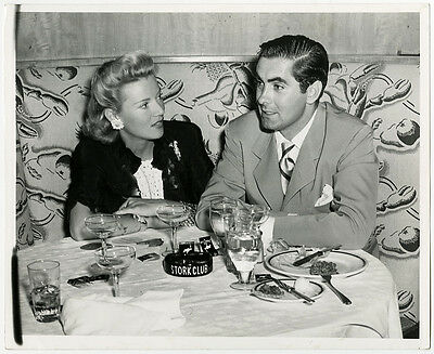 Tyrone Power & Wife Annabella Vintage 1940s Posed Candid Stork Club Photograph