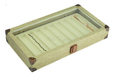 BURLAP GLASS TOP WOODEN CASE BRACELET JEWELRY BOX DISPLAY CASE w/ 10 Beige LINER