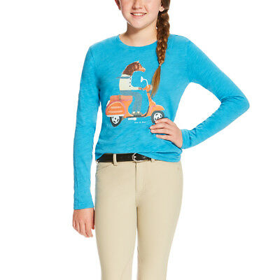 Ariat Girls Scootin Graphic Tee - Barrier Blue - Different Sizes