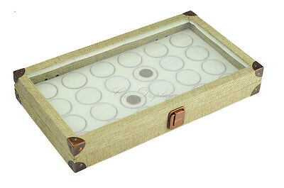GLASS TOP BURLAP WOODEN  BOX JEWELRY BOX w/24 WHITE GEM JARS DISPLAY CASE DEAL!