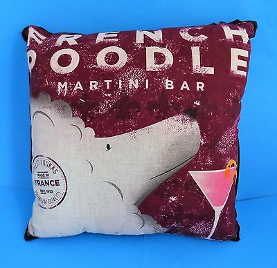 "Throw Pillow FRENCH POODLE MARTINI BAR Stephen Fowler 15x15"" NWOT"
