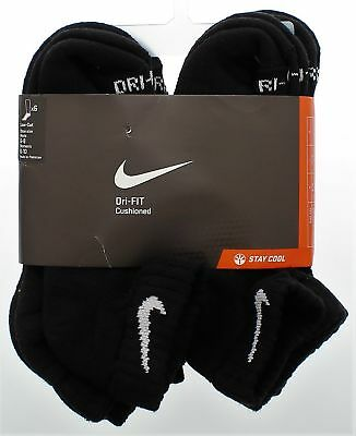 Nike Unisex Low Cut Black Socks 6 Pair Size M 6-8 W 6-10 Retail $22