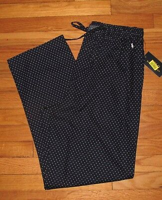 Ralph Lauren Mens Navy White Dots Plaid 100% Cotton PJ Pajama Pants M NWT