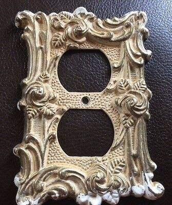 Vintage Ornate roses Metal Electrical Outlet Plate Cover Provincial AT&HC brass
