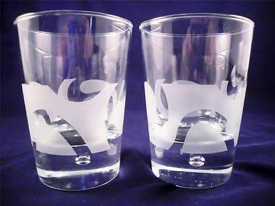 2 Bailey's Irish Cream Etched Frosted Double Swirl Bubble Rocks Cocktail Glasses