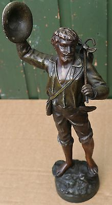 Wonderful Large Very Detailed Signed Metal Figure Of A Traveller Or Similar