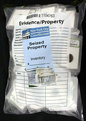 Sealed New York City Courthouse Sealed Property Bag with 40 Slabbed Old Coins