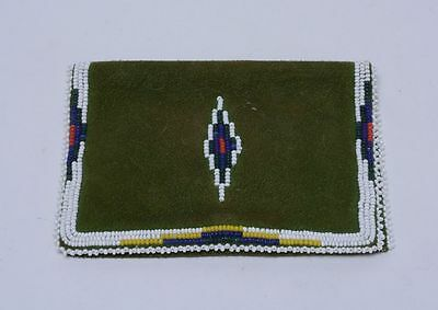 "Antique Shoshone Hide and Beaded Wallet + Pouch - c. 1930-1940 3 3/4"" x 5"""