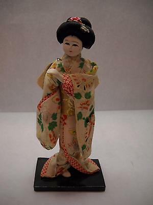 VINTAGE Chinese PAPER Mache DOLL Black STAND Butterfly Kimono TRADITIONAL Wig