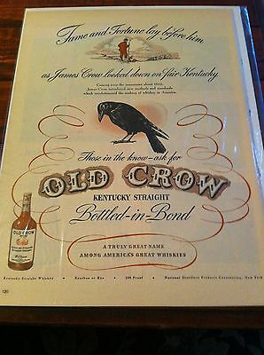Vintage 1946 Old Crow Whiskey Fame & Fortune Lay Before Him Print Art ad