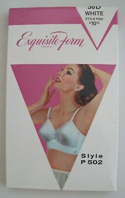 VINTAGE 1950's new in box EXQUISITE FORM BRASSIERES bra white 36D Style 502