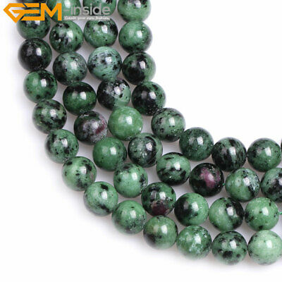 """Natural Round Red Green Ruby Zoisite Loose Stone Beads For Jewelry Making 15"""""""