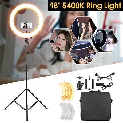 18'' 5500K 55W Dimmable LED SMD Adjustable Ring Light w/ Diffuser Tripod Stand