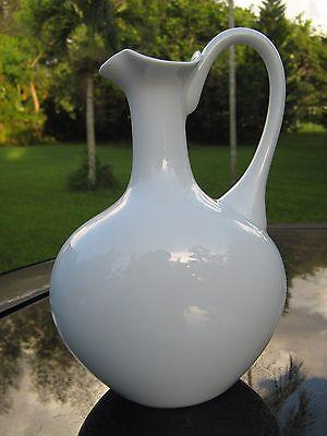 """Giraud Limoges France 8.25"""" Rose Bud Pitcher Shimmery White Beautiful Design"""