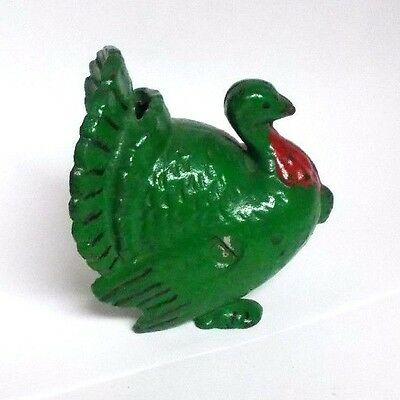 Vintage Green Painted Cast Iron Turkey Bank