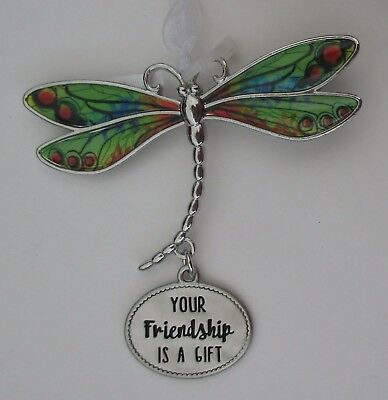 u Your friendship is a gift DELIGHTFUL DRAGONFLY ORNAMENT CAR CHARM Ganz