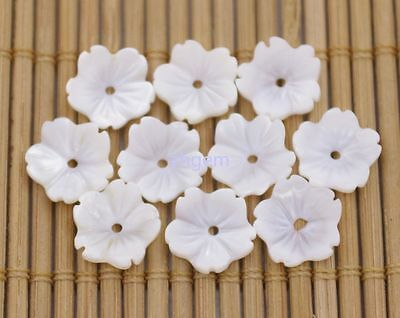 10 pcs 10mm white sea shell flower natural mother of pearl shell jewelry making