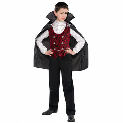 Childs Dark Vampire Halloween Fancy Dress Outfit Costume Age 4 - 12 Years