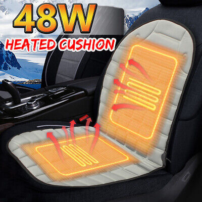 Universal Car Heated Front Seat Cover 12V Padded Thermal Cushion Winter Warmer