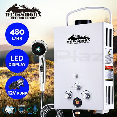 WEISSHORN Outdoor Gas Hot Water Heater Portable Shower Camping LPG Caravan Pump
