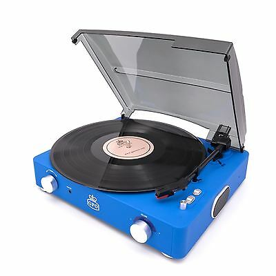 GPO Stylo II Turntable Blue 3 Speed Record Player Built In Speakers Retro Vinyl
