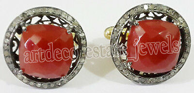 2.22cts ROSE CUT DIAMOND CORAL .925 STERLING SILVER CUFFLINK