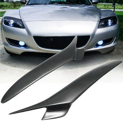 Real Carbon Fiber Headlight Lids Eyebrows Eyelids Cover For Mazda RX 8 RX8 04-08