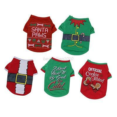 AU Dog Pet Clothes Santa Pattern T-Shirt Coat  Puppy Cat Outfit Clothes Apparel