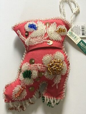 Midwest Cannon Falls VICTORIAN BEADED BOOT XMAS ORNAMENT PINK LOADED! FANCY