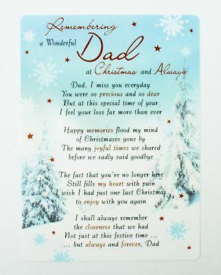 Missing You So Much Dad Christmas Grave Card Graveside Memorial Remembrance Male