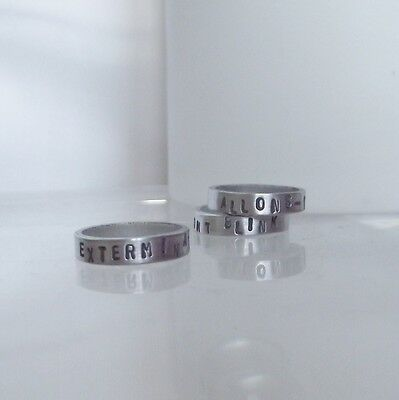 "Stunning Handmade Sterling Silver 925 Dr Who Dalek ""Exterminate"" Stacking Ring"