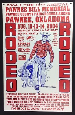 Oklahoma Pawnee Bill Memorial Rodeo 2004 19th Annual Orig Poster Western Decor