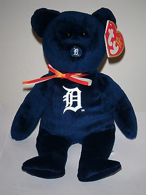 """New ~ MLB Ty Beanie Baby Bear ~ DETROIT TIGERS 8"""" size NWTs ~Stuffed Toy IN HAND"""