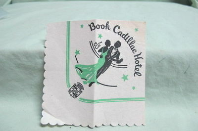 1940's The Book Cadillac Hotel  Detroit  Cocktail Napkin