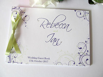 Personalised Guest Autograph Book Swirls Wedding Engagement Birthday Baby Shower