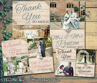10 Personalised Wedding Thank You Cards Wooden Effect Barn Rustic Vintage Folded