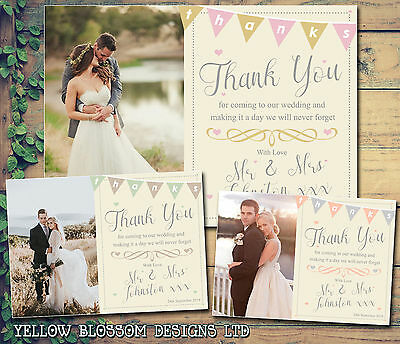 10 Bunting Shabby Printed Folded Postcards Personalised Wedding Thank You Cards