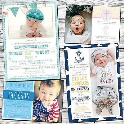 10 Personalised Christening Naming Day Baptism Invitations Photo Cards Thank You