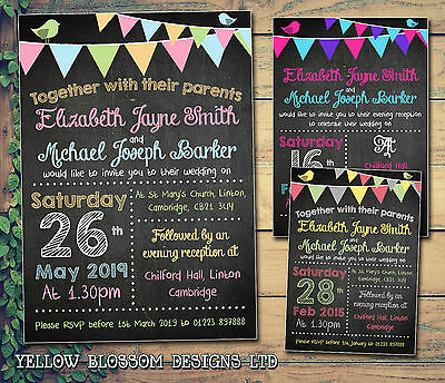 10 Personalised Wedding Invitations Day Evening Chalkboard Bunting Poster Style