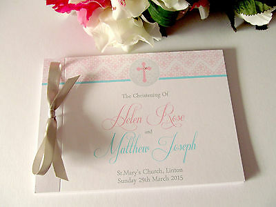 Personalised Guest Book Naming Day Baptism Christening Birthday Cross Religious